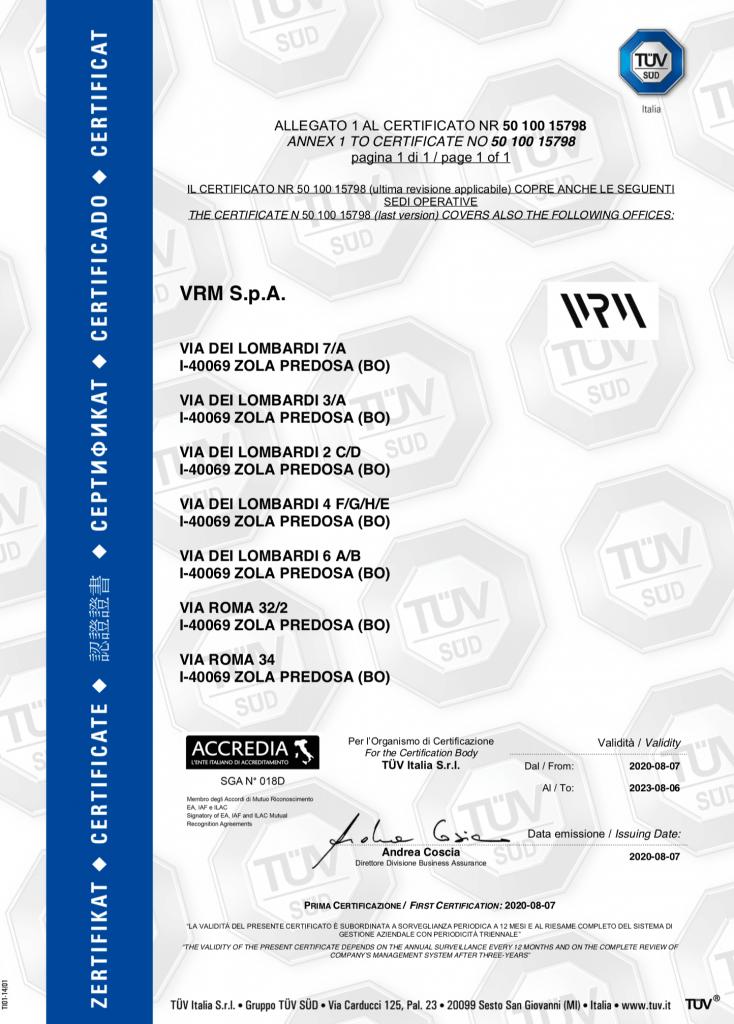 sostenibilità - ISO 14001 - VRM SPA