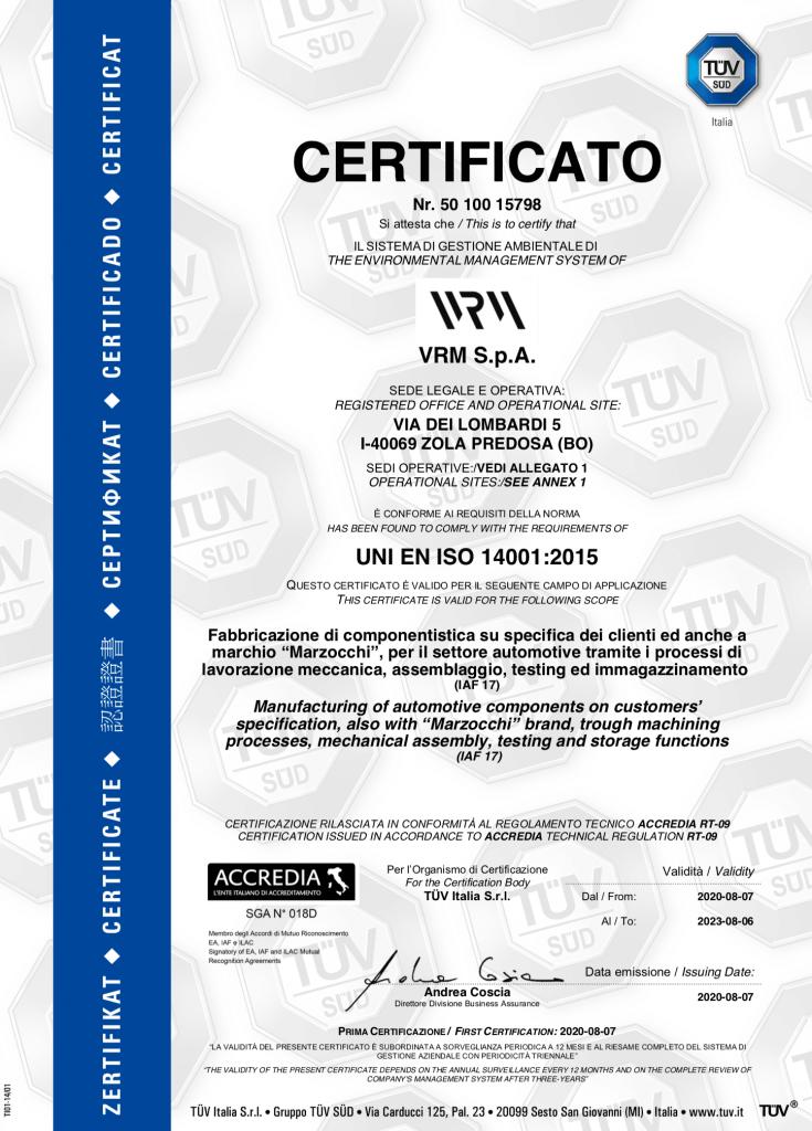 sostenibilità -certificazione- ISO-14001-VRM-SPA